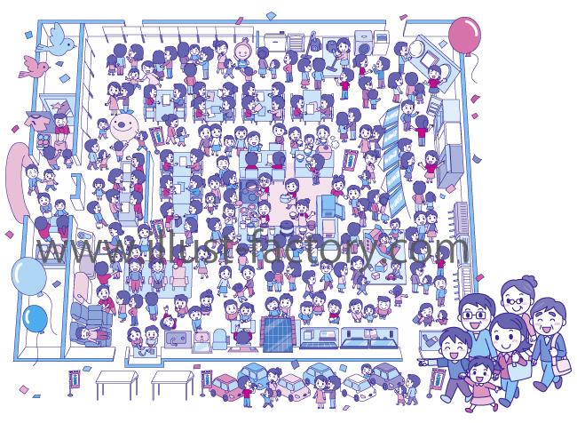 家電展示会会場イラスト★俯瞰★賑やかイメージ!