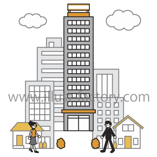 建物イラスト★シンプルな線画タッチ★サンプルG51★