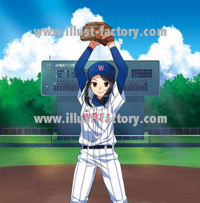 野球ポスター用女の子イラスト★アニメタッチ