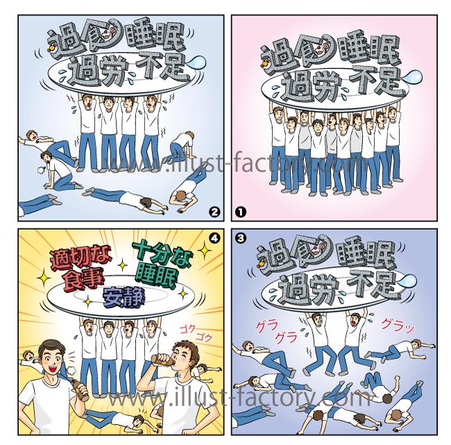 4コママンガ★腎臓の機能の説明イラスト★