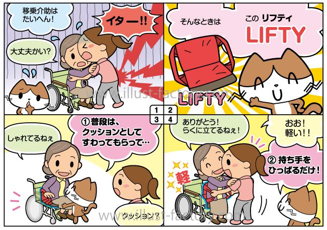 4コマ漫画★腰痛軽減商品の説明マンガ★