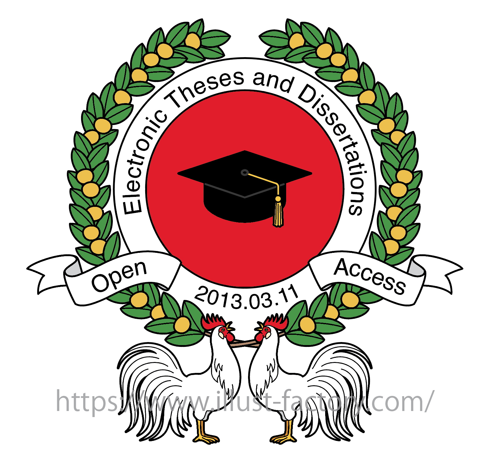 学会関係のロゴマーク制作★ニワトリと月桂樹をモチーフにしたデザイン