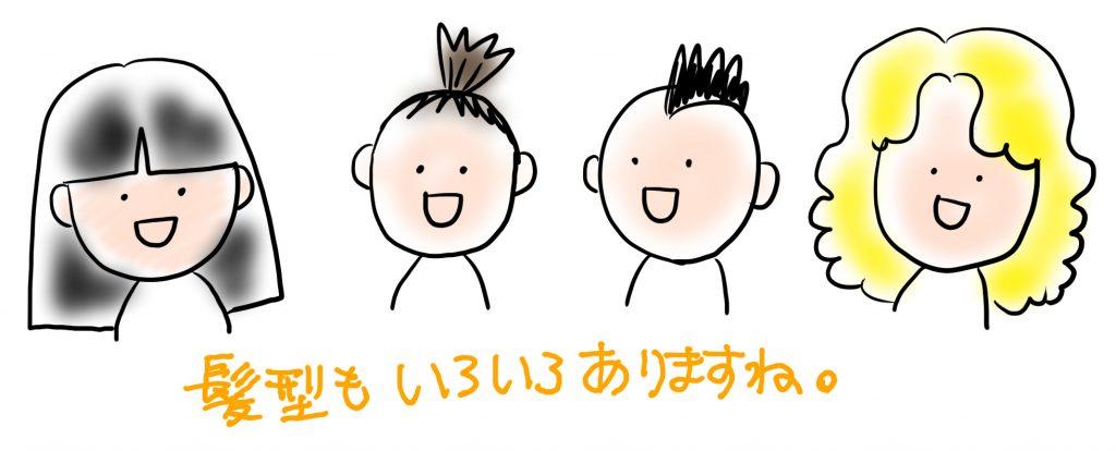 似顔絵の描き方・制作のコツ:髪型を観察しましょう!