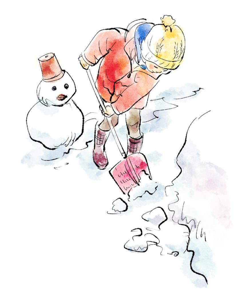 クリスタ制作例:水彩イラストで描く雪の日の子供