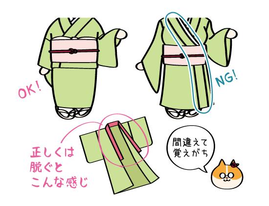 着物イラストの描き方・OK/NG例:えりの長さ