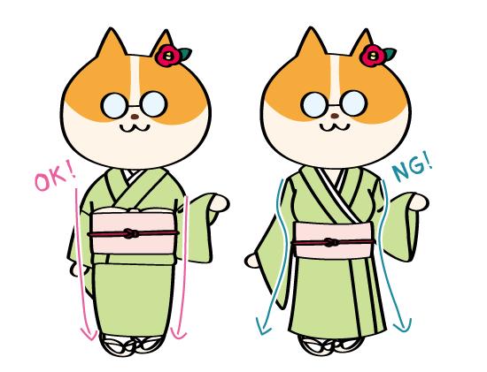 着物イラストの描き方・OK/NG例:着物の美しいボディライン