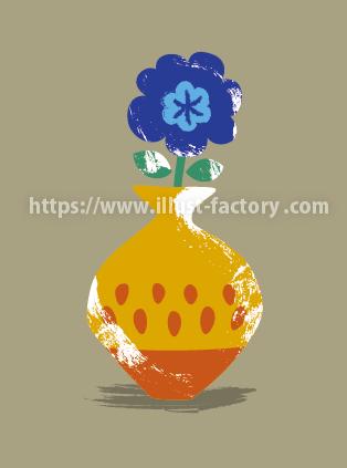 手書き風の外国のヴィンテージ絵本タッチ 花瓶