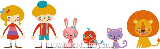 北欧風 オシャレな子供と動物のイラスト制作例 A128