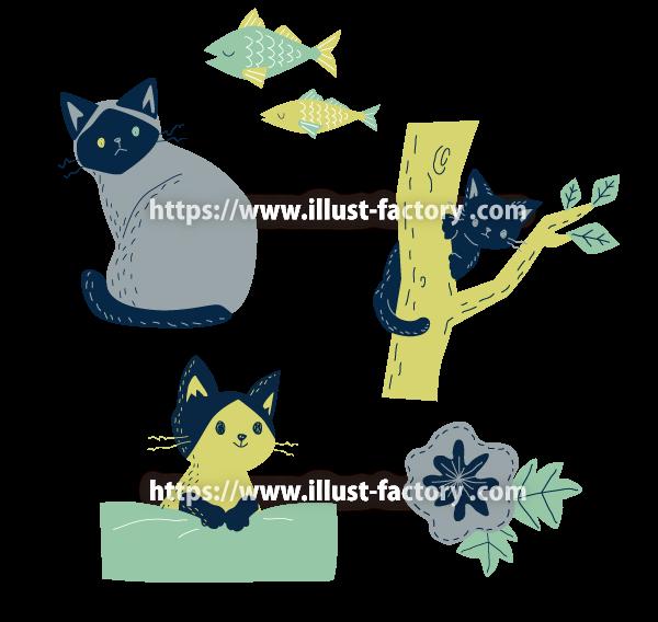 北欧風テイスト かわいい猫イラスト制作例 A245