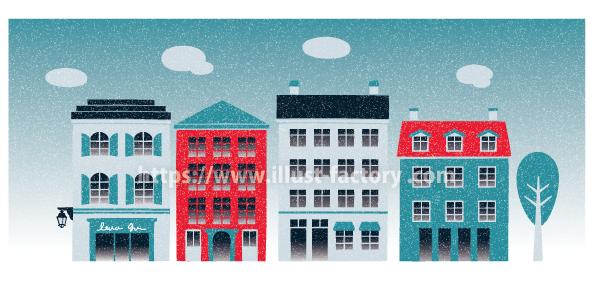 外国風 お洒落な街並み・建物イラスト制作例 A258