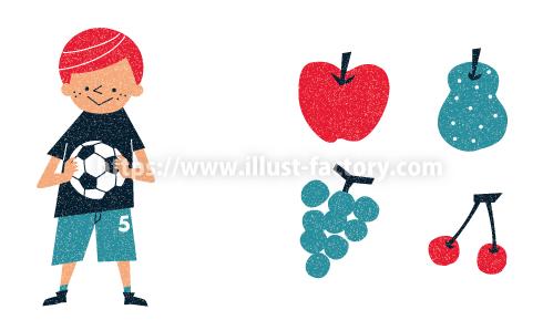 外国風 お洒落な果物や子供イラスト制作例 A258 少年