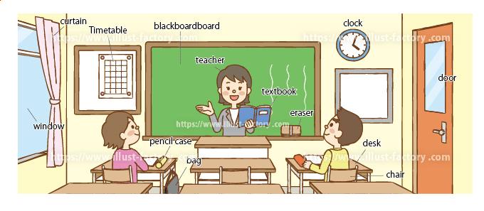 小学校英語の教材教科書イラスト:教室