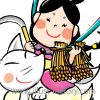最上いなりさまイラスト☆和風筆タッチ☆キツネと女神