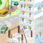 建設業界紹介用風景イラスト★要素を盛り込んで1つの街並みに★