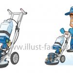 洗浄機(オーボット)の機械イラストと男性作業員イラスト
