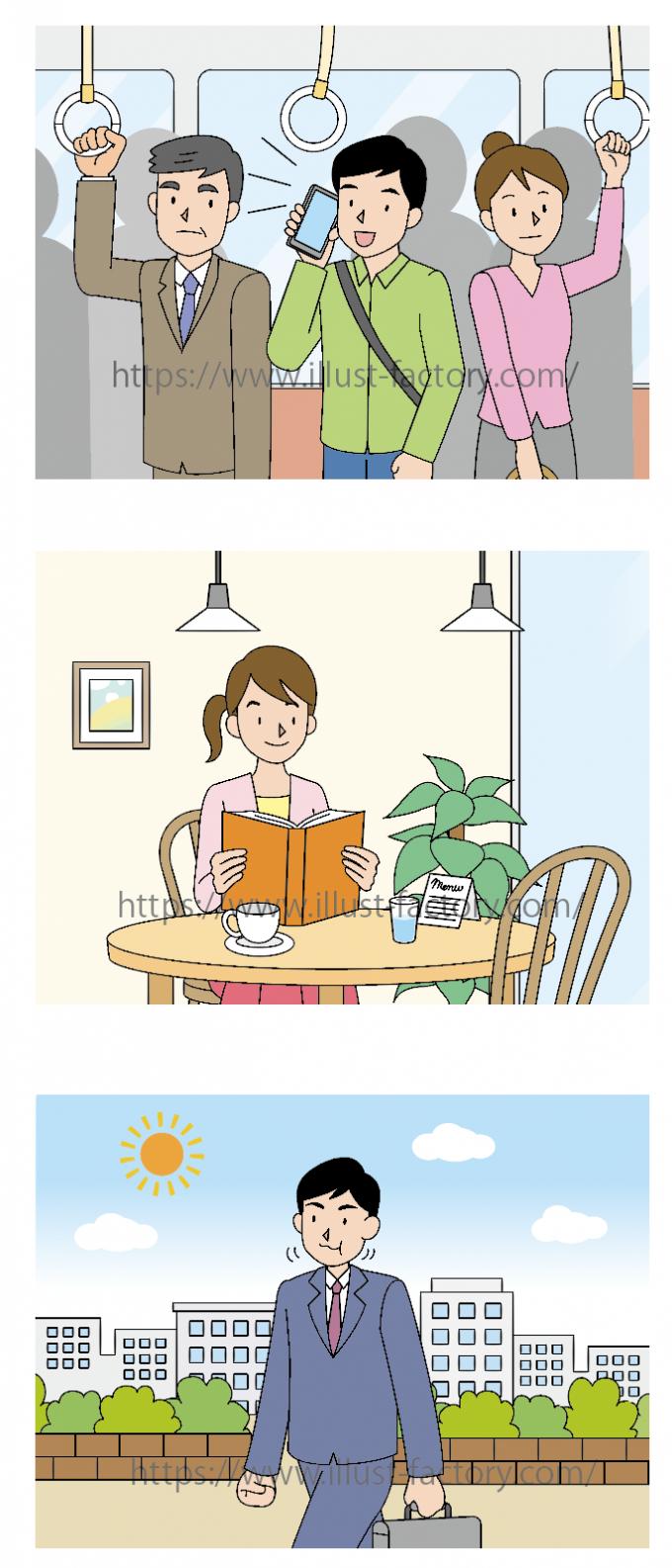 日本でのマナーイラスト★クイズ用のイラスト制作いたしました。