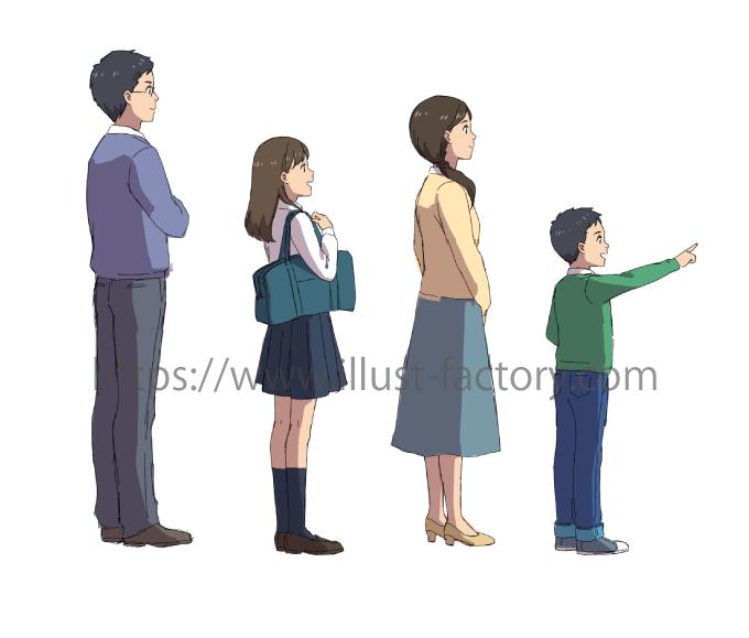 アニメ風タッチ住宅関係の案件用家族のイラストb350タッチ お仕事