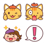 LINE絵文字の販売開始★シンプルかわいい猫たちの絵文字