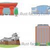 石川県の地図上に配置する建物のイラスト制作