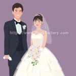 新タッチ紹介:新郎新婦結婚式イラスト頭身高いタッチ B89