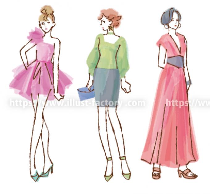 ペン画風手描きタッチ女性ファッションイラスト B91