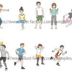 ストレッチ方法説明イラスト・体操イラスト G89タッチ