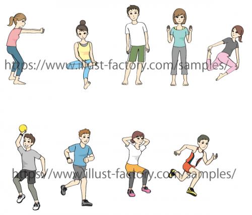 ストレッチ方法説明イラスト・体操イラスト制作例 G89
