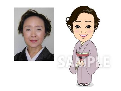 P8 上品でかわいい似顔絵制作例 着物姿の女性