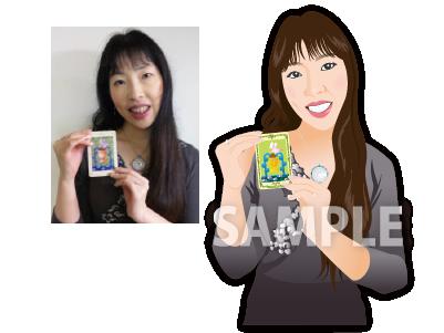 P16-1 リアルタッチ似顔絵制作例 カードを手に持つ女性