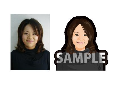 P16-2 リアルタッチ似顔絵制作例 笑顔の女性