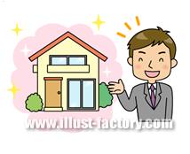 A102-11 住宅紹介する営業マンイラスト