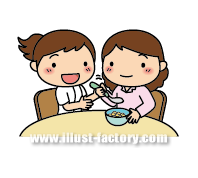 A104-03 リハビリイラスト 食事介助