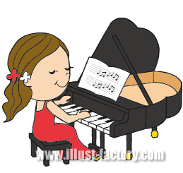A109-10 女性ピアニストイラスト