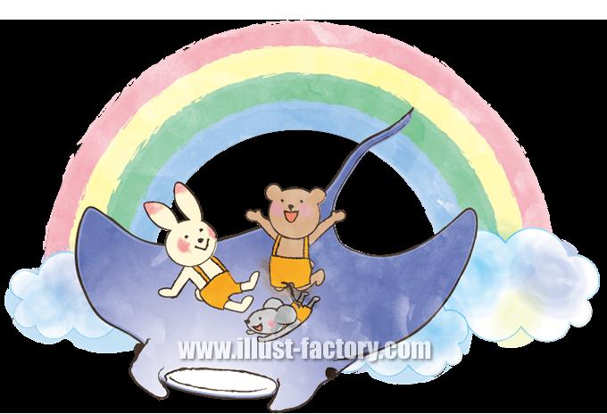 A110-2 ウサギ、ネズミ、クマ、エイ 幼児、子供向けイラスト作成