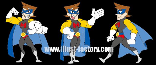A114-04 海外アニメ風男性ヒーロー 頭身高め
