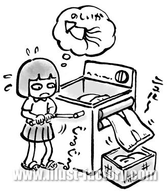 A118-06 書籍挿絵 昭和の洗濯・脱水イラスト