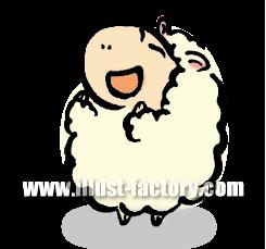 A119-03 喜ぶ羊のイラスト