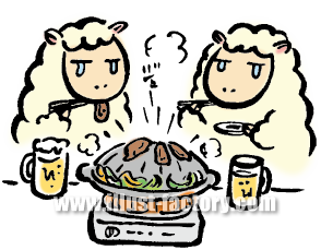 A119-04 ジンギスカンと羊のイラスト
