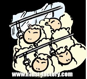 A119-05 満員電車に乗る羊のイラスト