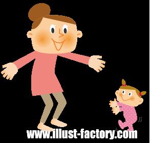 A130-01 親子イラスト 歩く練習・赤ちゃん