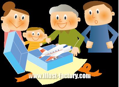 A130-05 親子・家族のイラスト おもちゃのプレゼント