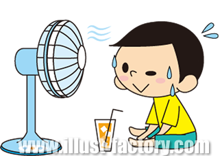 A139-04 扇風機と子供イラスト