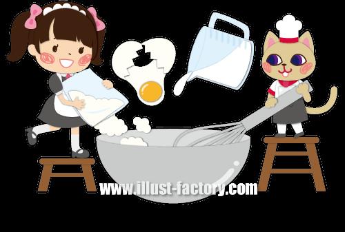 A140-02 調理方法説明イラスト お菓子作り