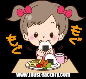 A148-01 園児イラスト ご飯を食べる女の子