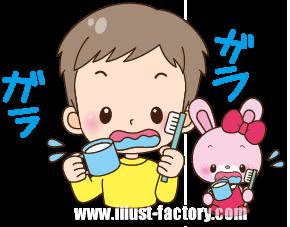 A148-02 園児・子供イラスト 歯磨き・うがい