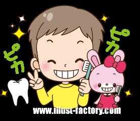 A148-03 園児とウサギキャライラスト 歯磨き