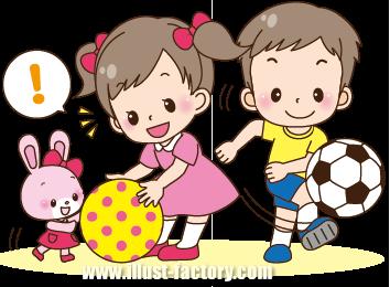 A148-05 園児イラスト ボール・外遊び