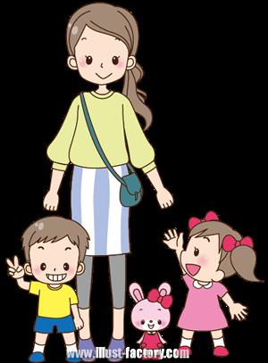 A148-06 子供イラスト お母さん・親子