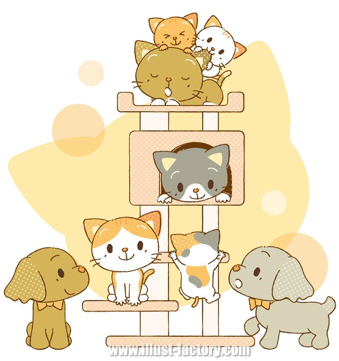 A159 ペットイラスト 犬・猫・キャットタワー