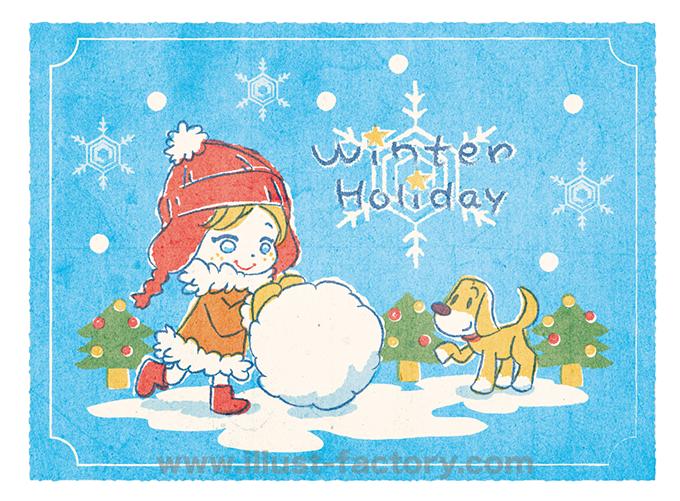 A162-1 孔版印刷風イラスト 雪遊び